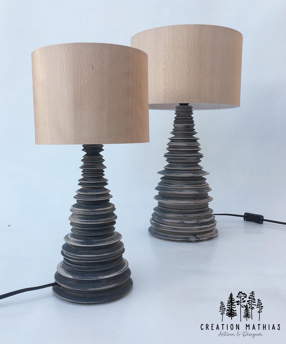 lampe en bois tournée, Mathias Lecocq